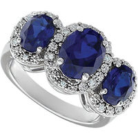 Three sapphire gemstone white gold ring wholesale