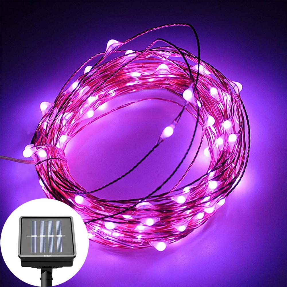 AIMENGTE LED String Lights Outdoor Solar, LED Fairy Lights Waterproof, 100 LEDs/ 200 LEDs 33ft/66ft Christmas Halloween Lights, LED Starry Lights String Lamp for Patio. (100 LEDs/33ft, Purple)