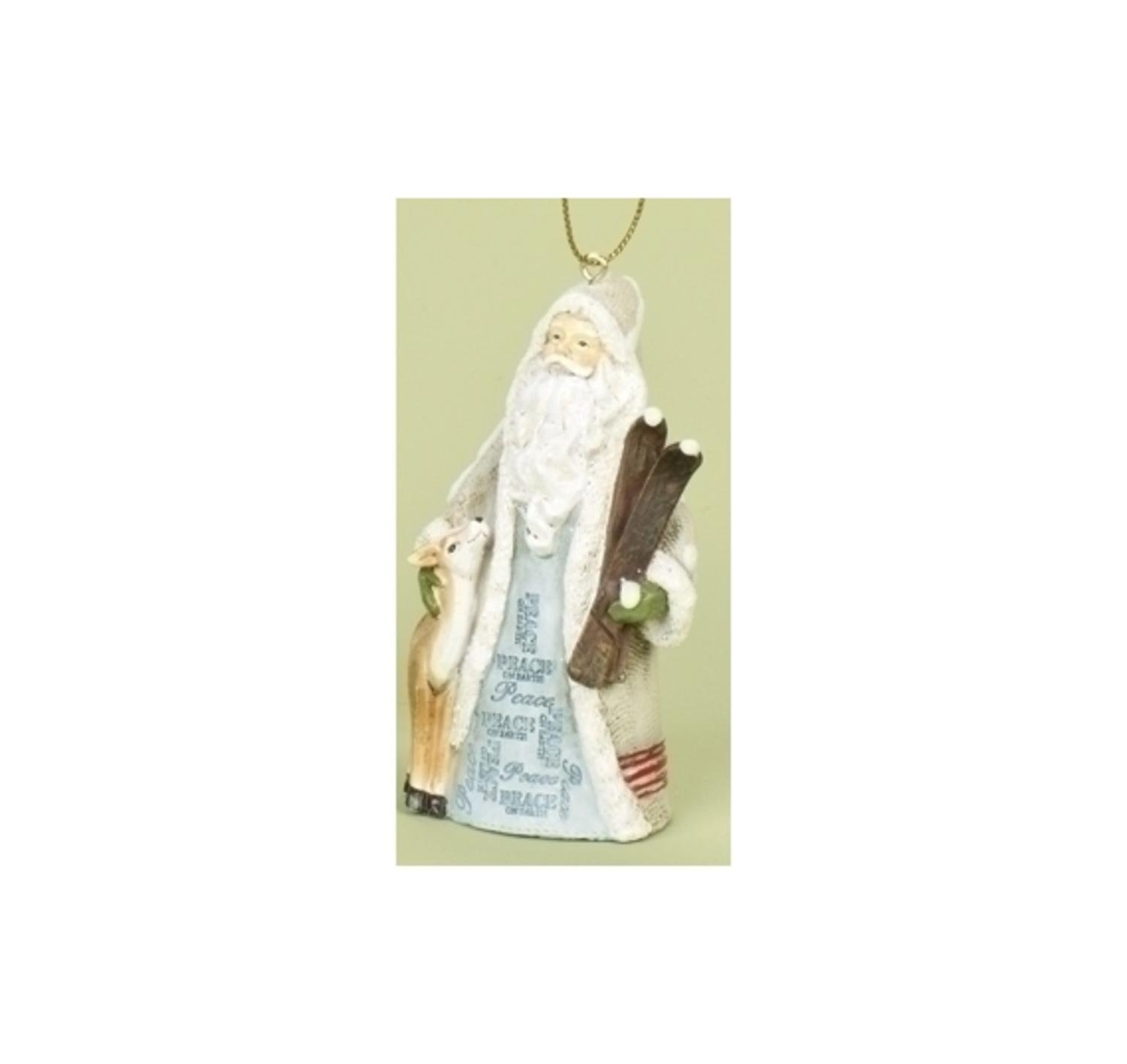 "3.5"" Woodland Inspirations Blue Peace On Earth Santa Claus Christmas Ornament"