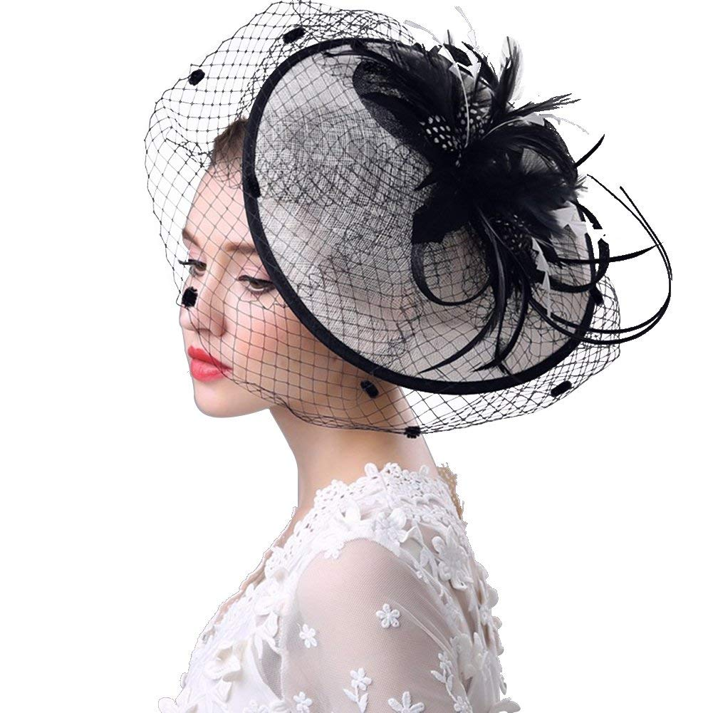 c010d8bf Get Quotations · RAGAN Bridal Fascinator Hat,Women's Party Wedding Cocktail  Headwear Hats Pillbox Hat Hair Clip Headband