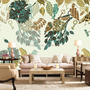 Indian Style Leaf Shape Painting 3d Wall Mural Wallpaper For Living