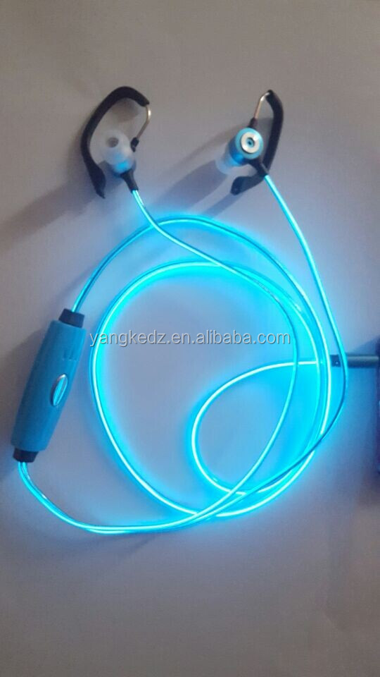 Upgrade rechargeable Ear hook EL light earphone for iphone/mobile phone
