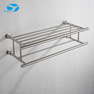 Double wire wall mount stainless steel towel rack