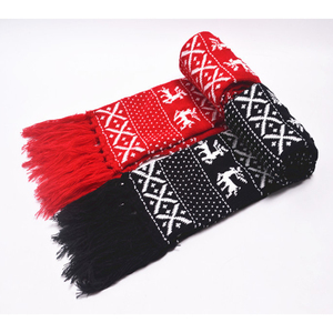 Hot Sale Gifts Red Black Jacquard Stretch China New Christmas Tree Deer Thin Knitted Scarf