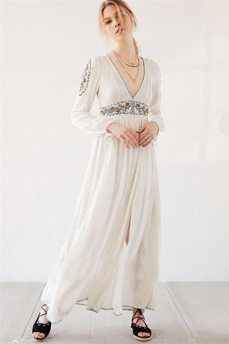 70s Boho Wedding Dress vintage hippie ivory off white cream |Tahari White Dress Hippie Bohemian