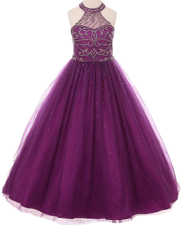 33ca47fe8d6f5 Get Quotations · Dreamer P Dazzling Halter Rhinestones Junior Bridesmaid  Pageant Flower Girl Dress 4-16