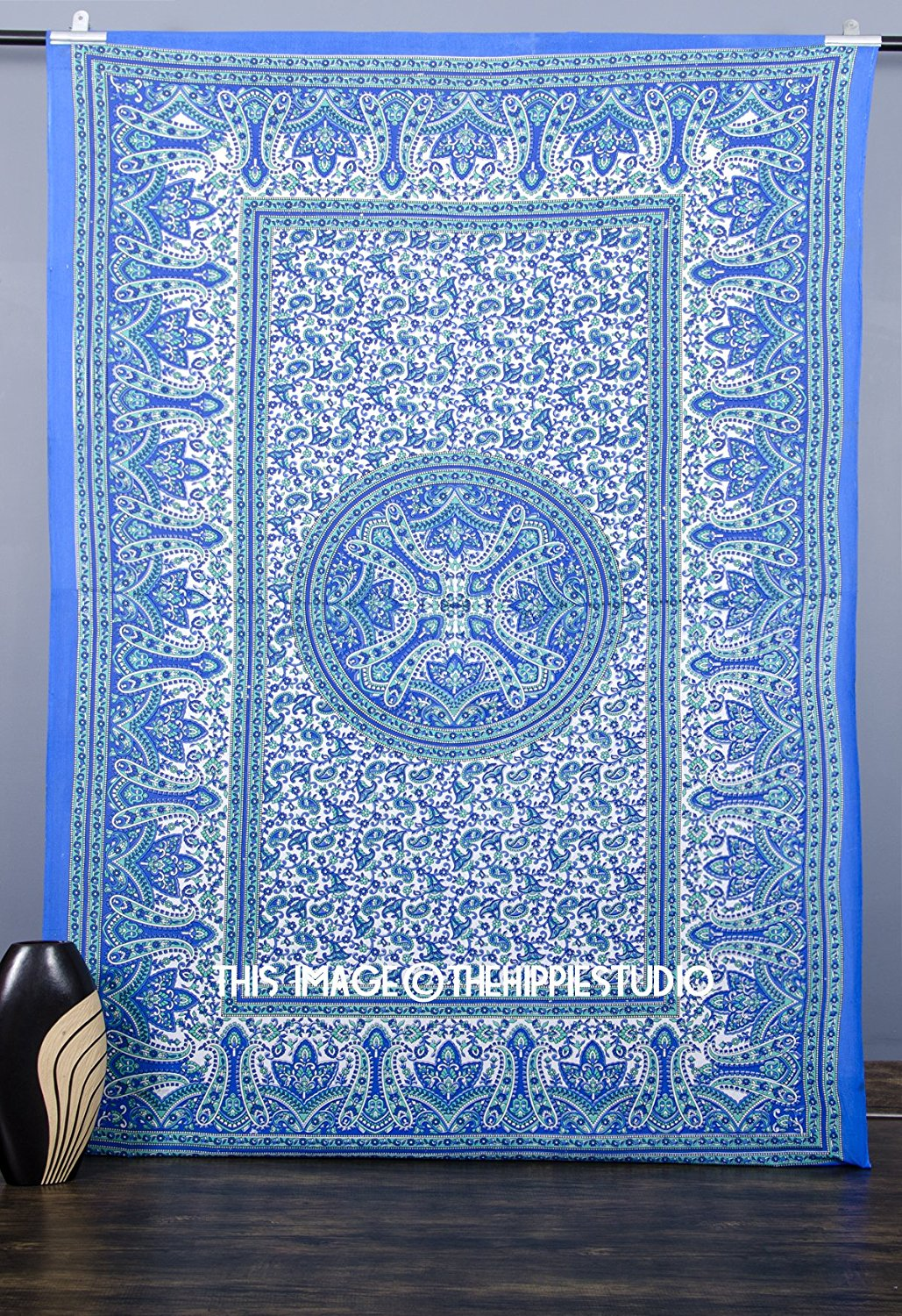 Blue Hippie Tapestry, Bohemian Mandala Tapestries Wall Hangings, Indian Bedspread Ethnic Decor, Boho Tapestry Beach Throw, Tapestries for Dorms, College Wall Tapestries (60 X90)