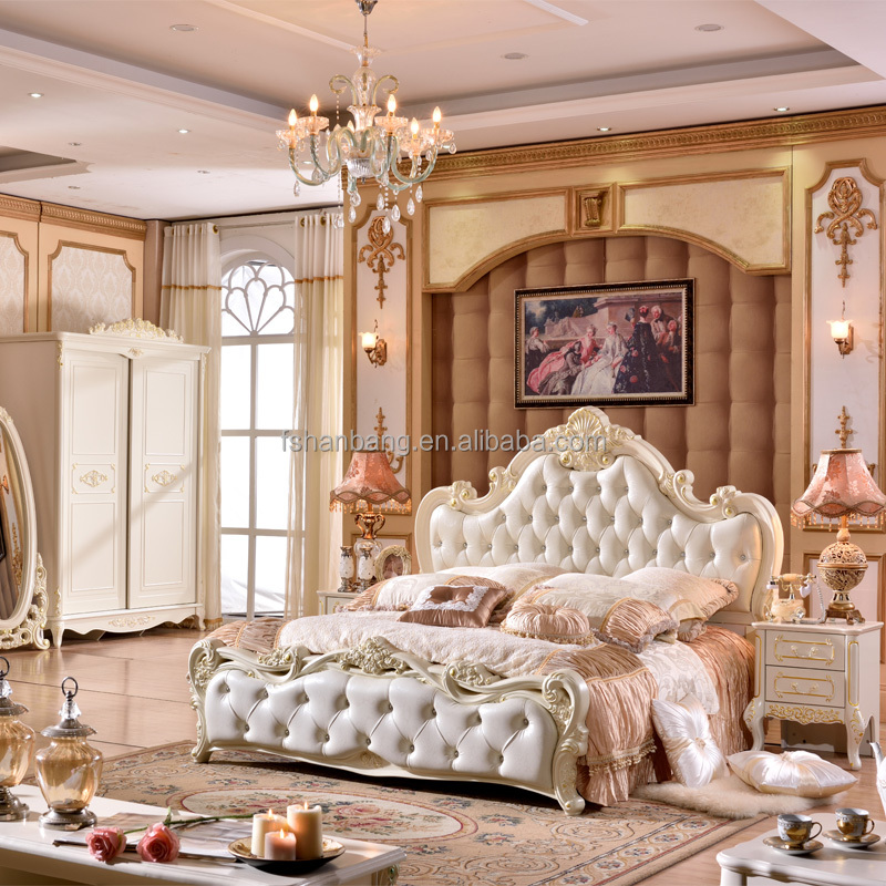 Real europeo francés cama de madera tallada conjunto de muebles de ...