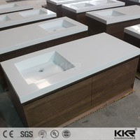 Bathroom sanitary ware counter washbasin with cabinets standing