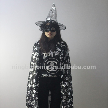 Black halloween costume masquerade silver pattern cape with hat for sale