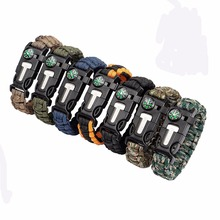 Multifunctional Outdoor Paracord survival bracelet 5 in 1 with Flint Fire Starter Compass Emergency Whistle Knife and Scraper