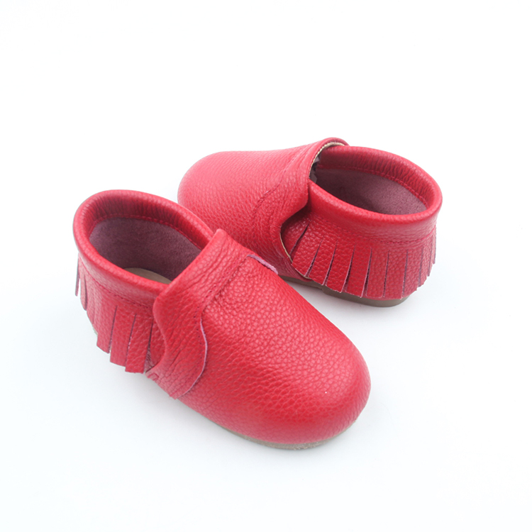 Red color cow leather kids shoes children girls shoes