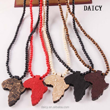 DAICY cheap wholesale hip hop beads chain africa map wooden pendant