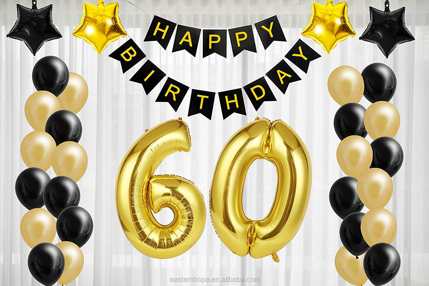 60th Black And Gold Birthday Party Supplies Decorations Set