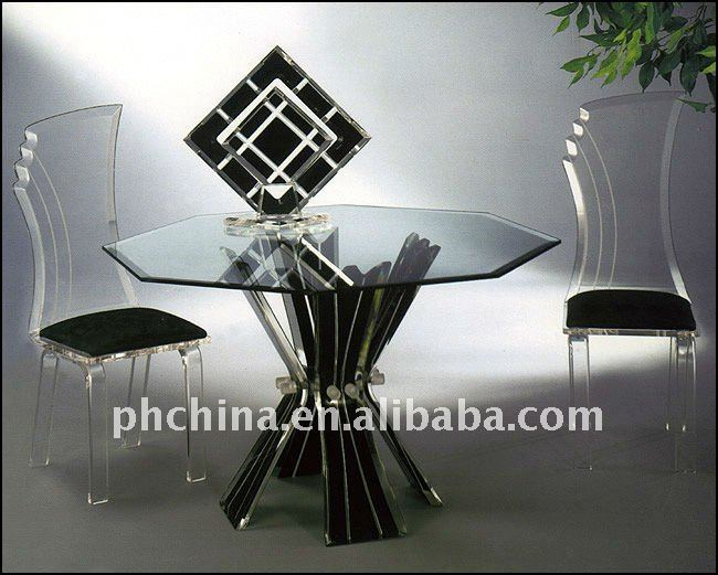 Custom Clear Acrylic Dining Kitchen Flower Side Octagon Table