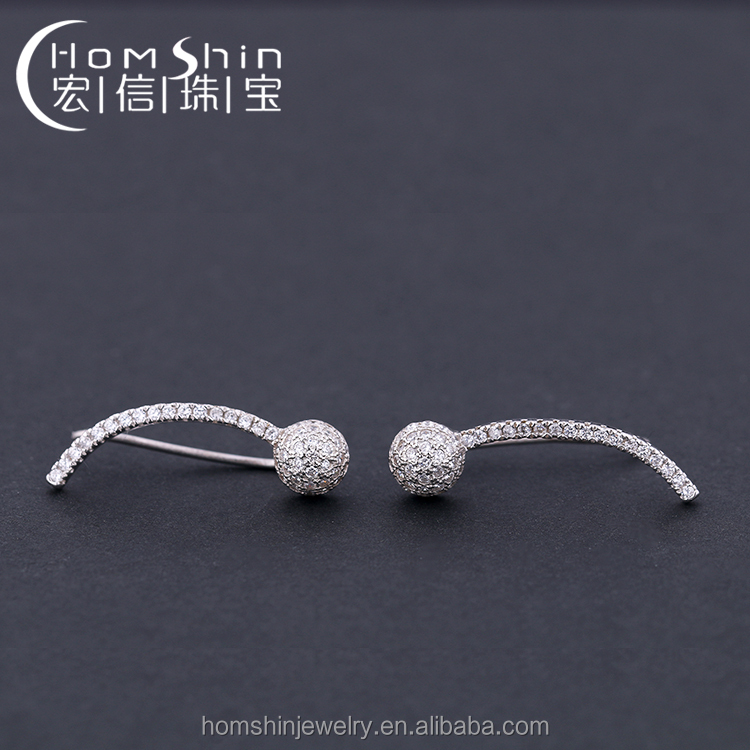 Lovely baby frog 925 sterling silver earring cuff earring with white cz