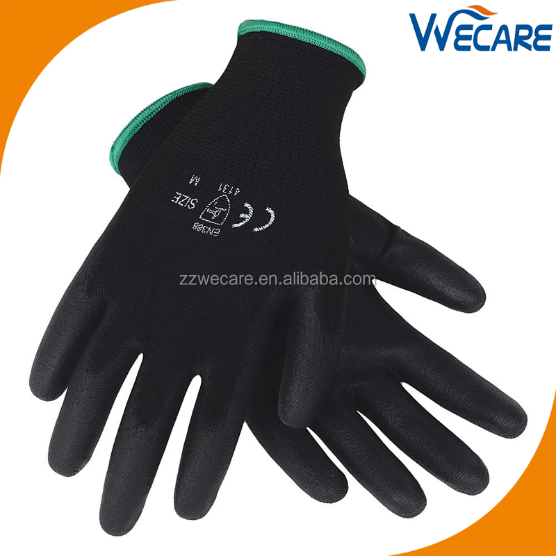 13G Seamless Knitted Lightweight Previous Work Hand Protection Black PU Coated Nylon Gloves