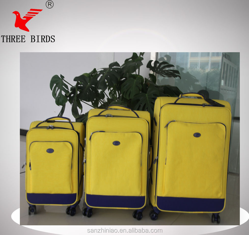 [Three Birds] modern senior nylon fashion and leisure style soft luggage,luggage cart,used luggage for sale