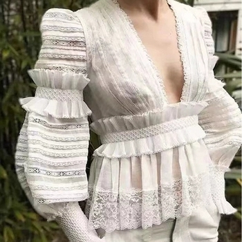 Australia popular design ladies deep V blouse puffy sleeve smocking lace tops flouncing waist women's blouse & tops vestidos