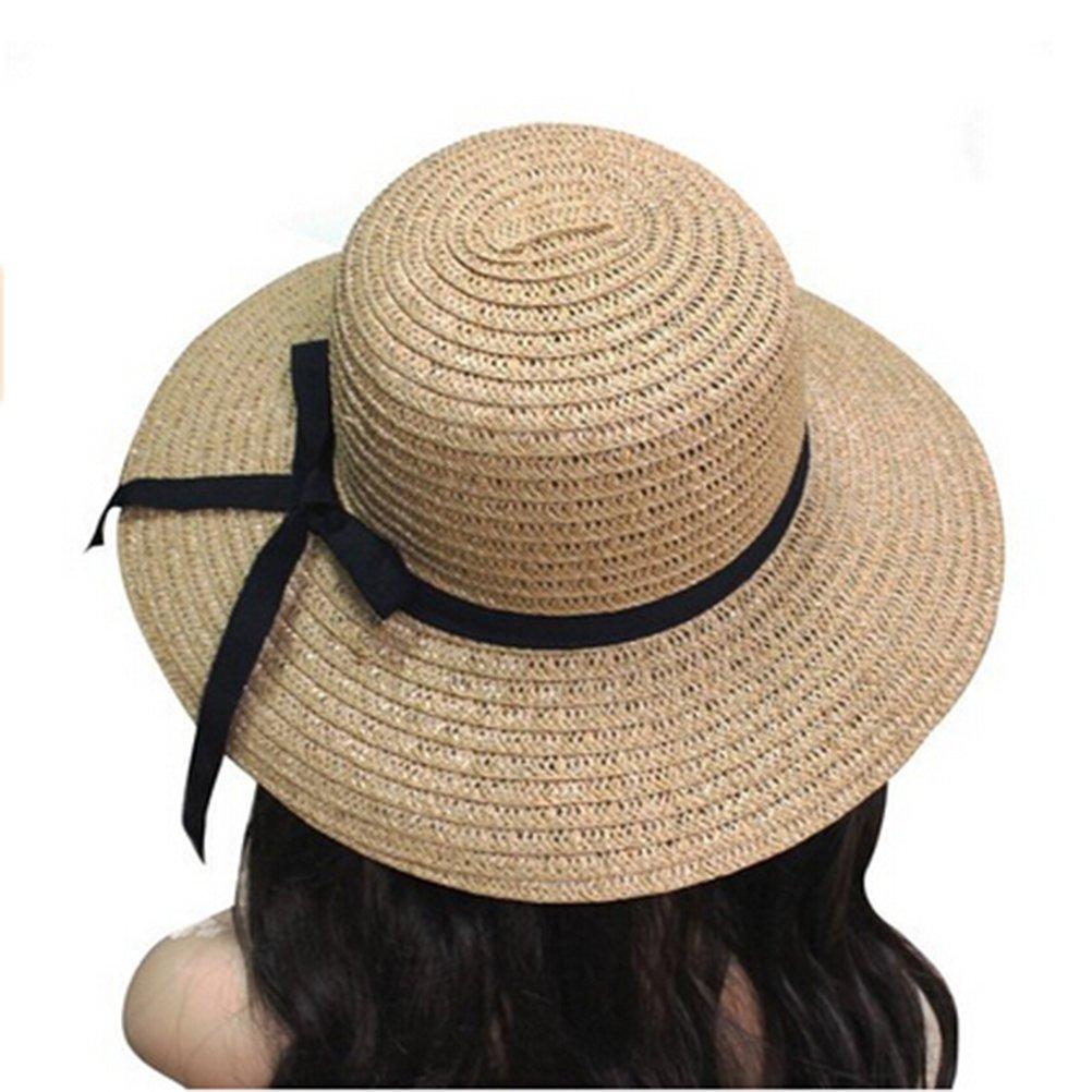 2da50ad636b PIXNOR Women s Wide Brim Summer Beach Hat Foldable Roll Up Sun Visor Straw  Hat Cap (
