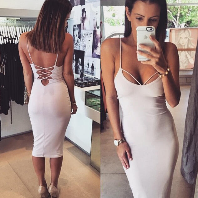 2015 Sexy Women Backless Halterneck Slim Cocktail Bodycon Bandage Wrap Dress Casual Dress Designs For Pakistani