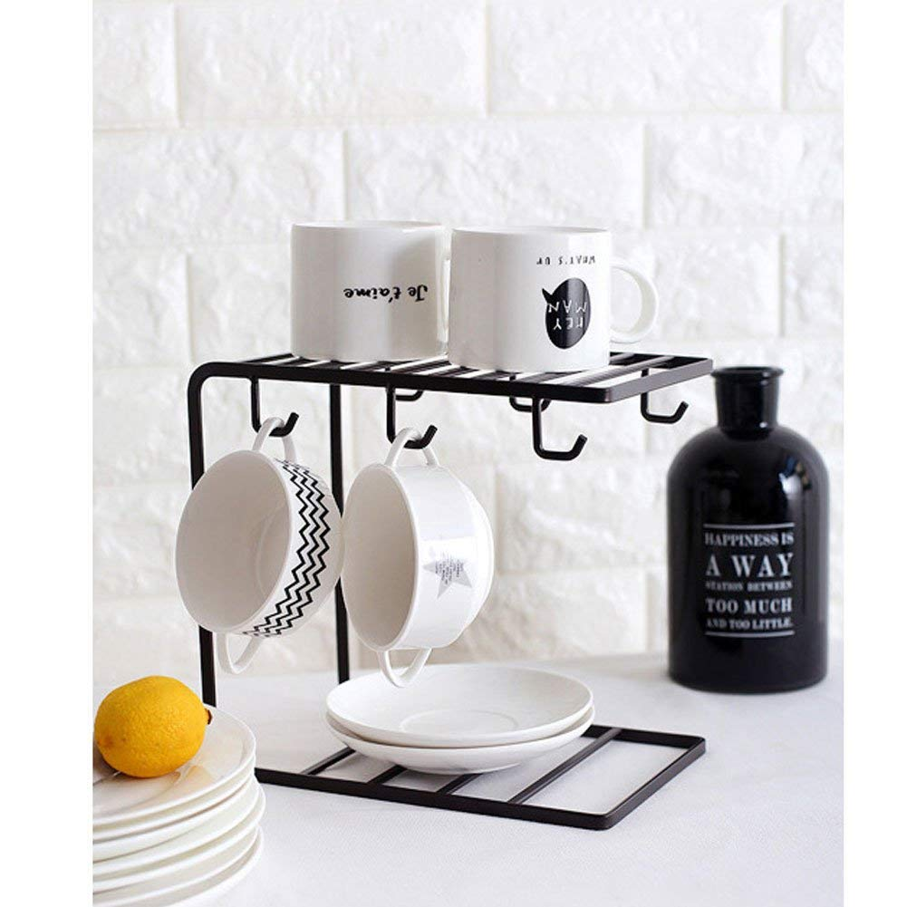 SRHOME 2-Tier Dish Drying Rack 6 Hook Mug Holder Countertop Mug Storage Organizer Rack Coffee Cup Drying Rack-Kitchen Hanging Organizer Rack (Black)