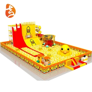 Yellow duck style funny children indoor playground with ball pool