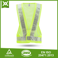 high visibility yellow Reflective safety jacket for man comply with EN471