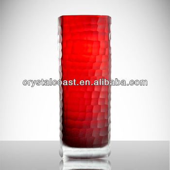 Valentine Red Murano Long Stem Flower Tall Cylinder Glass Terrarium