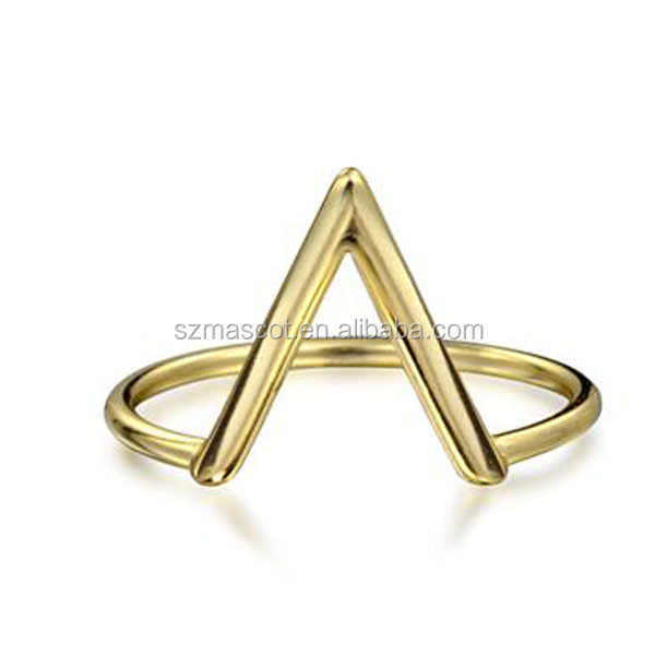 925 silver gold finished cheap triangle v rings for girls
