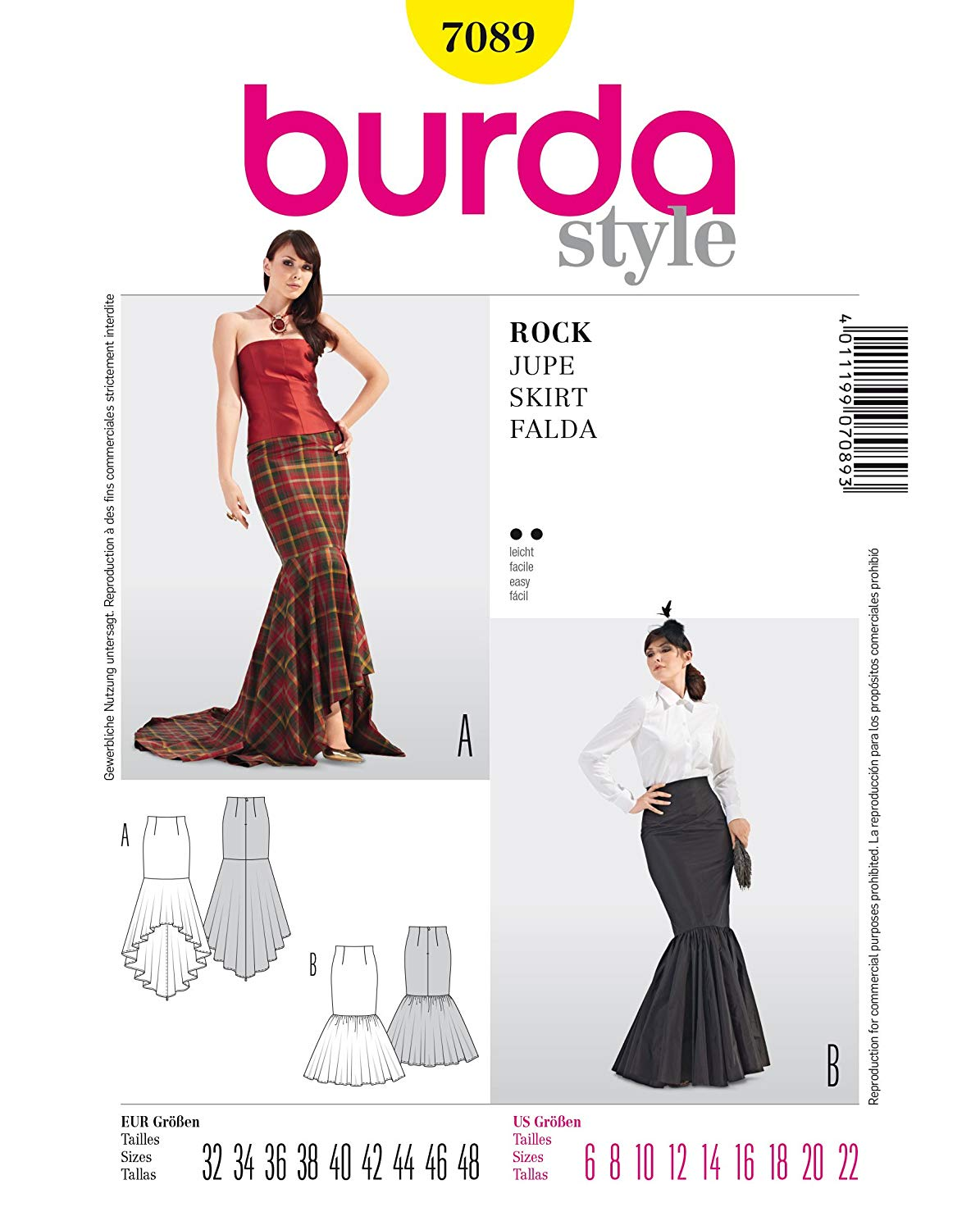 BURDA STYLE 7089 MERMAID STYLE SKIRTS FLOOR LENGTH & WATERFALL HEM WITH TRAIN SEWING / COSTUME PATTERN MISSES' / PLUS SIZES: 6 - 22