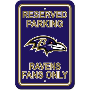Fremont Die 90231 Baltimore Ravens Plastic Parking Sign - Reserved Parking