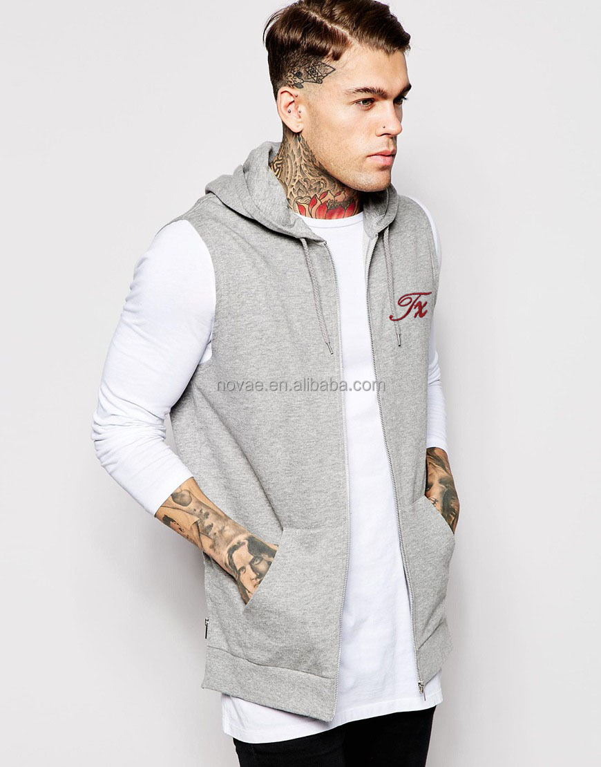 2015 New Style Men Plain Sleeveless Hoodie Zip Up Sleeveless Zip Hoodie Custom Men's Zipper Sleeveless Hoodies