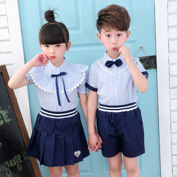 f6e6059a05eb 2017 HOT SUMMER KIDS SETS CUTE PRIMARY SCHOOL UNIFORM 2 PIECES WITH BOWKNOT  TI