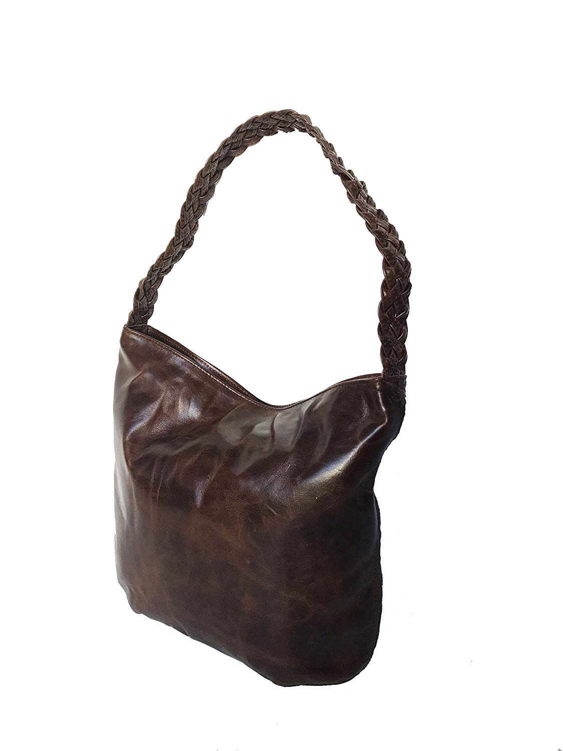 5c0448170144 Get Quotations · Fgalaze Distressed Oil Leather Hobo Bag w Braided Handle