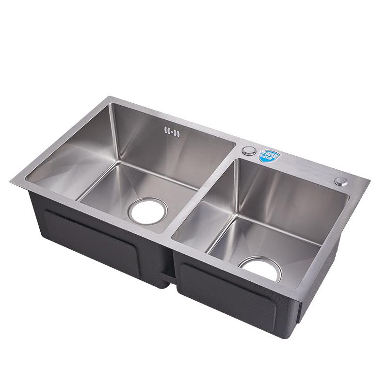 7541 Sanitary ware wash basin double bowl stainless steel handmade kitchen undermount sink