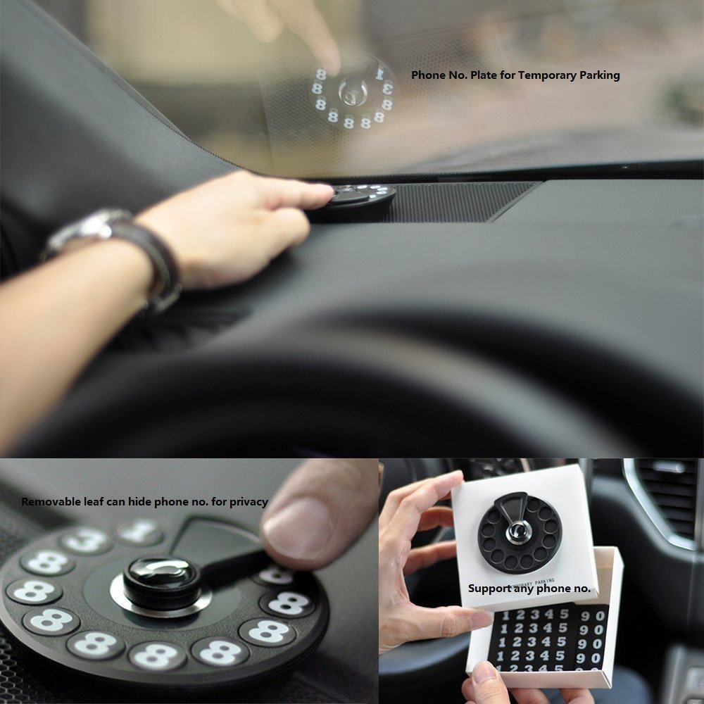Temporary Parking Card - Creative Temporary Park board Car Phone Number Card Plate for Car Dashboard Auto Accessories Emergency Call Creative Privacy Protection Instantly Hide the Phone Number (Black)