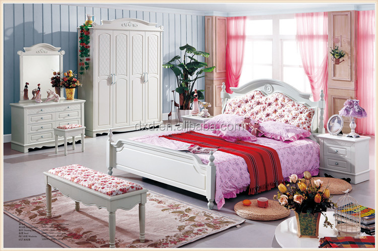 Meisje slaapkamer meubilair prinses eenpersoonsbed met bloem stof