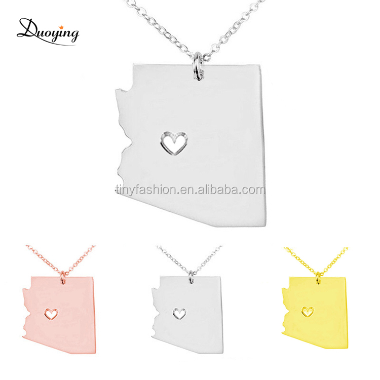 N011 Gold/Rose Gold/White Gold Three Tones Option Wholesale Arizona State Stainless Steel Necklace Engraved Pendant