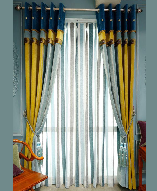 Vertical Striped Velour Curtains For Home Decoration