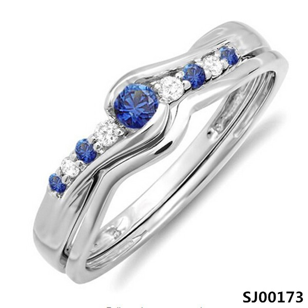 925 sterling silver Blue Sapphire and White stone ring for wedding