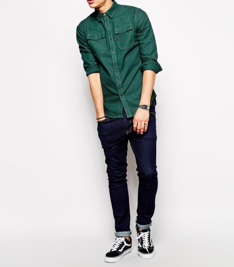 Wholesale Men Long Sleeve Green Designer Denim Shirt - Buy Denim ...