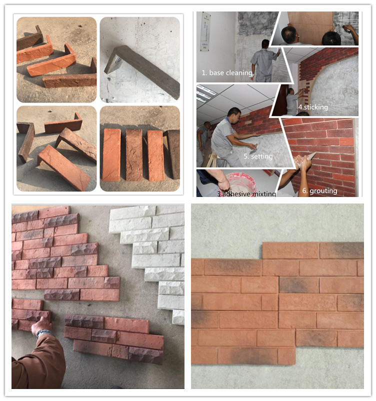Cement concrete block decorative brick wall old red color brick panel
