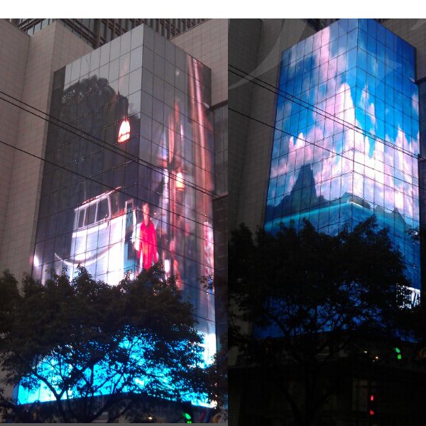 Sunrise Building Facade/video Advertising/p16/25/30/40/50mm/outdoor Led  Display Screen/transparent Glass Led Display - Buy Glass Led
