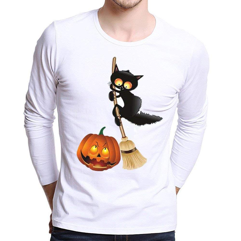 PHOTNO Mens Tee Shirts,Halloween Mens Long Sleeve Shirts Slim Fit Pullover Tops Blouse Boys T Shirts for Men