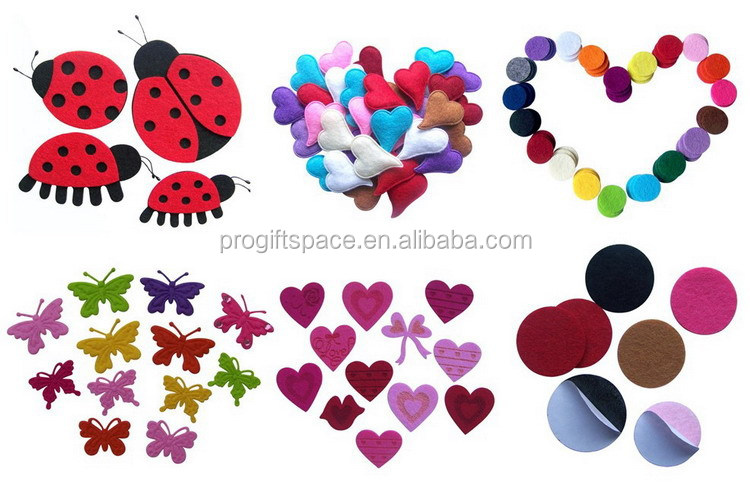 progiftspace 2018 new fashion heat embossing polyester felt decorative buttons wholesale for craft toy clothing accessories DIY