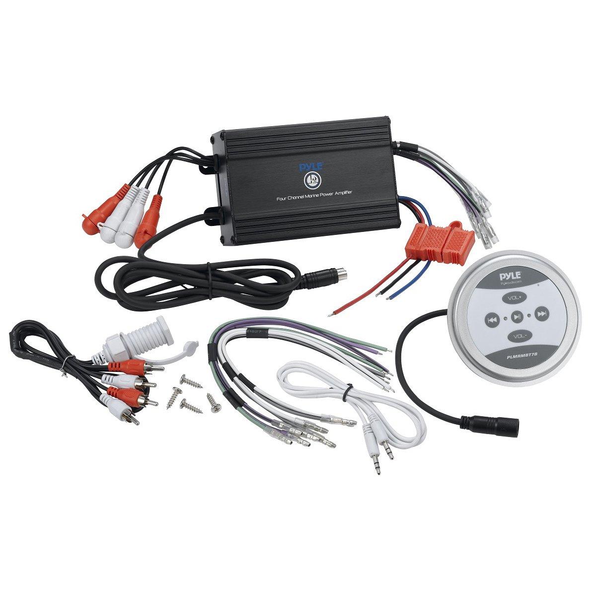 Pyle Compact Bluetooth Marine Amplifier Kit - Waterproof Rated 4-Channel Audio Amp | Wireless Music Streaming | AUX/RCA/MP3 Input | Speaker Wiring | 1200 Watt MAX (PLMRMBT7B)