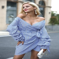 Amazon Hot Sale New Spring And Summer Striped Deep V Dress