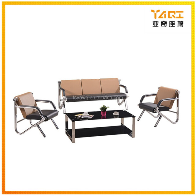Trade Assurance Modern Stylish Italian Style Steel Pipe Easy Clean Pu  Leather Office Sofa YA