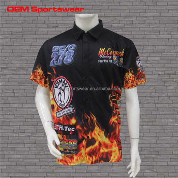 0f88478ad Custom Button Up Racing Team Pit Crew Shirts With Flames - Buy ...